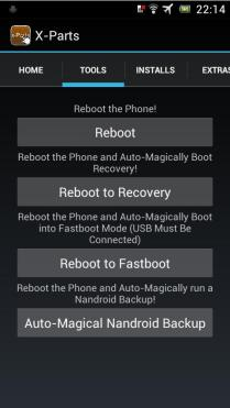 danach auf Tab Tools wechseln und dort REBOOT TO RECOVERY auswählen